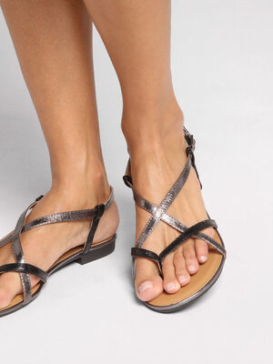Sandales plates brides fines noir femme