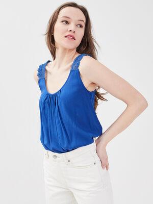 Blouse bretelles larges bleu electrique femme