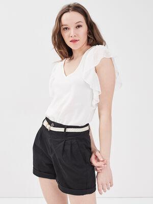 Short chino ceinture noir femme