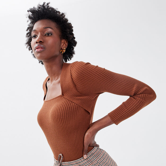 Pull côtelé effet 2-en-1 marron femme