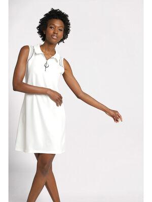 Robe sans manches zippee ecru femme