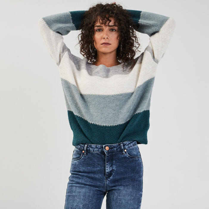 Pull manches longues ample bleu canard femme