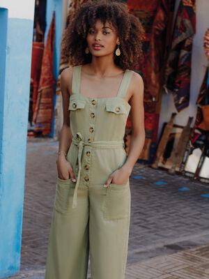 Combinaison pantalon ample lyocell vert kaki femme