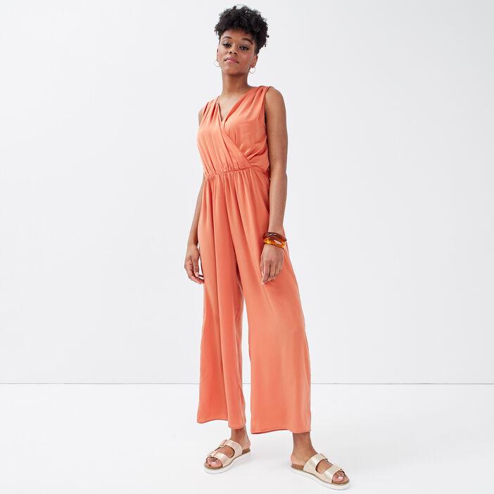 Combinaison pantalon satinée terracotta femme