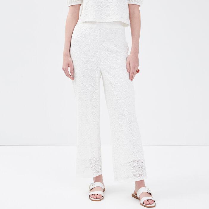 Pantalon ample en broderie ecru femme