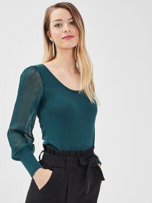 Pull manches bouffantes vert fonce femme