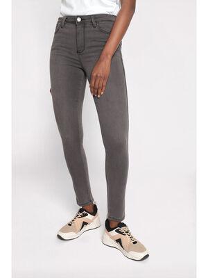 Jeans skinny bandes sporty denim gris femme