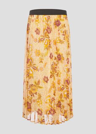 Jupe longue evasee plissee creme femme