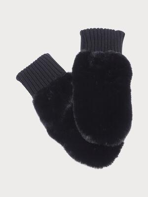 Moufles fausse fourrure noir femme