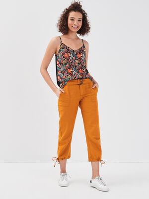 Pantalon 78eme lin jaune moutarde femme