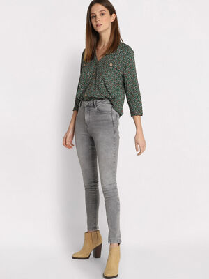 Jeans skinny 5 poches denim gris femme