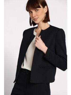 Veste blazer droite col rond bleu marine femme