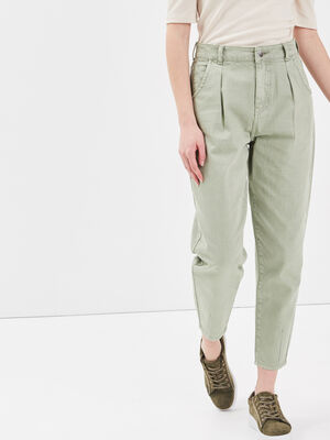 Jeans slouchy avec pinces vert clair femme