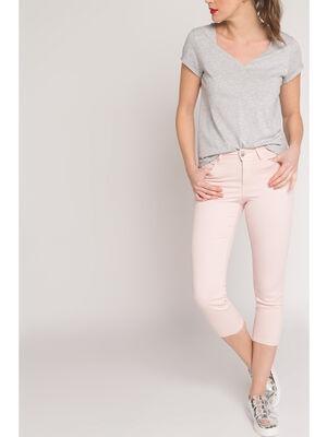 Pantacourt slim basique uni rose clair femme