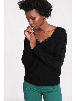 Pull manches longues dentelle noir femme
