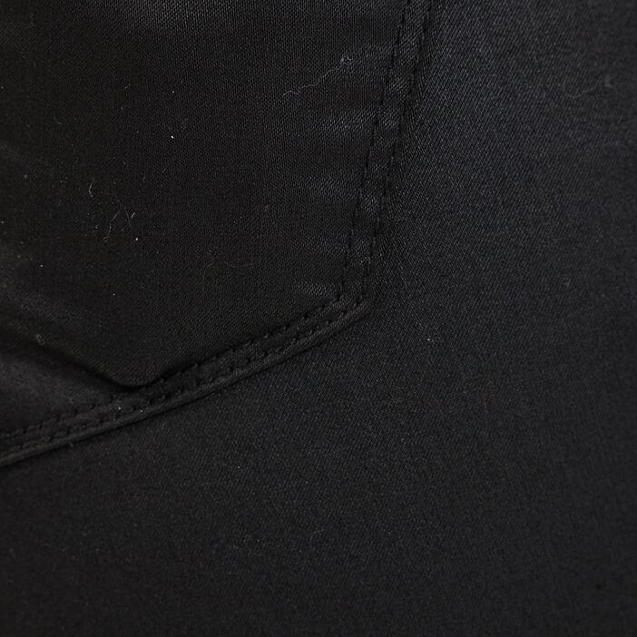 Pantalon skinny détails zippés denim noir enduit femme
