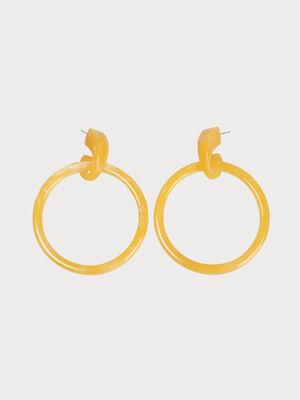 Boucles doreilles anneaux jaune femme