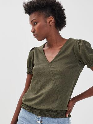 T shirt manches courtes smocke vert kaki femme