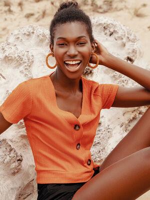 T shirt cache coeur boutonne orange femme