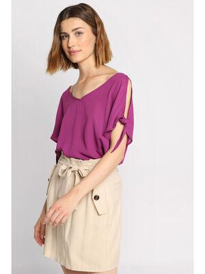 Blouse manches courtes violet femme