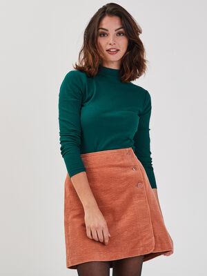 T shirt maille cotelee vert fonce femme
