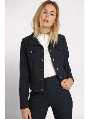 Veste droite a poches bleu marine femme
