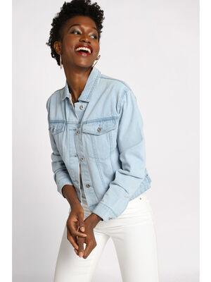 Veste courte boutonnee en jean denim bleach femme