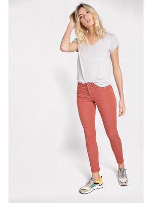 Jeans skinny push up terracotta femme
