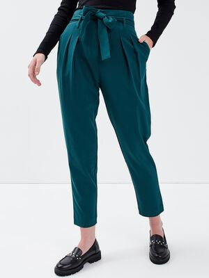 Pantalon paperbag vert fonce femme