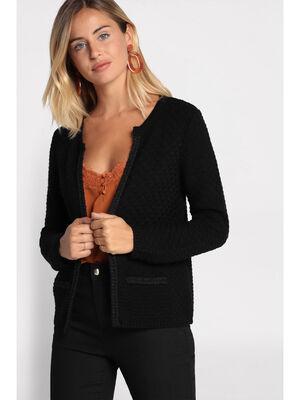 Gilet droit tricote noir femme