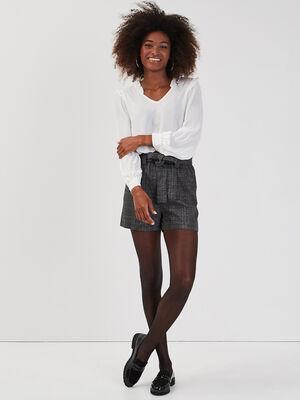 Short paperbag noir femme