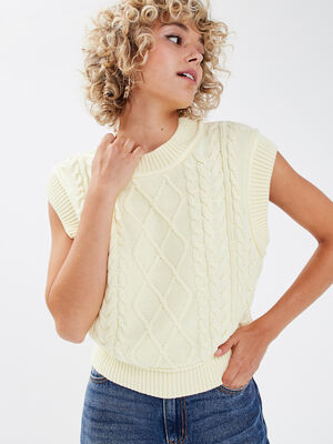 Pull manches courtes jaune pastel femme