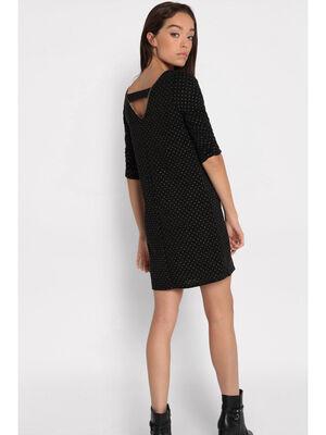 Robe droite details cloutes noir femme
