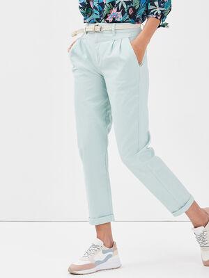 Pantalon chino ceinture vert clair femme
