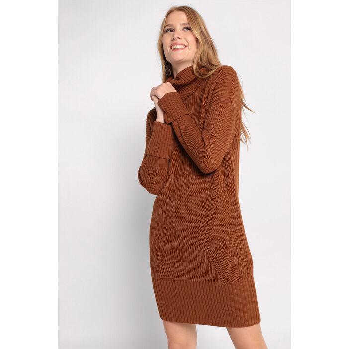 Robe Pull Col Roule Marron Femme Vib S