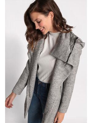 Manteau cintre asymetrique gris clair femme