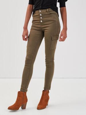 Jeans skinny boutonne vert kaki femme