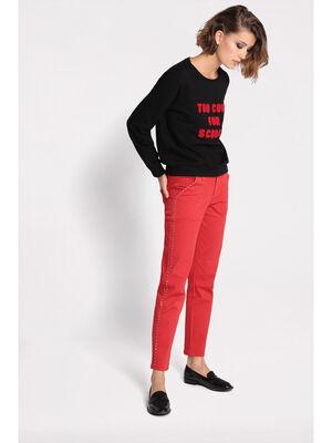 Pantalon regular a clous rouge clair femme