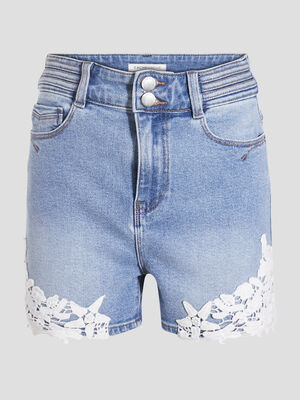 Short droit en jean denim double stone femme