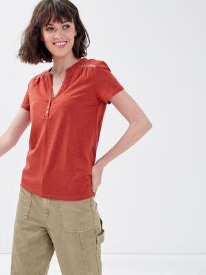 T shirt manches courtes ajoure orange fonce femme