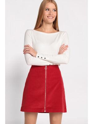 T shirt manches longues cotele ecru femme