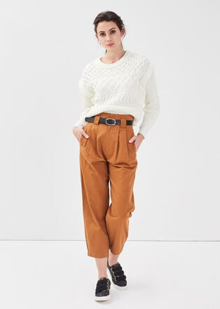 Pantalon ample ceinture beige femme