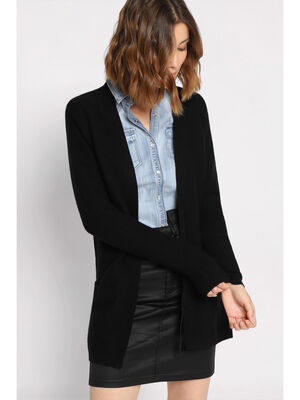 Gilet manches longues a poches noir femme