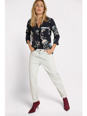 Jeans mom taille haute denim bleach femme