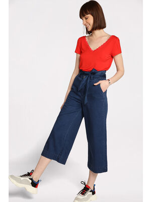 aa8ba42a8e6b0 Jeans bootcut taille haute denim brut femme