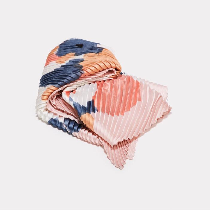 Foulard carré plissé rose poudrée femme