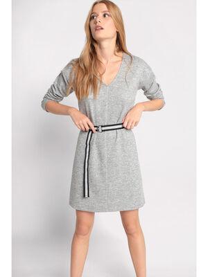 Robe droite a ceinture gris clair femme