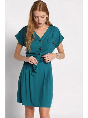 Robe col en V ceinturee vert emeraude femme