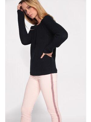 Jeans skinny bande sporty rose clair femme