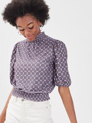 T shirt manches 34 parme femme